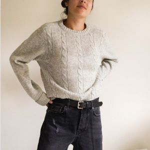 Vintage 100% Wool Gray Cable Knit Sweater